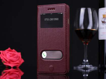 Premium Leather Case With Windows for iPhone 6s Plus/6 Plus - Rosewood Leather Wallet Case