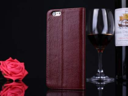 Premium Leather Case With Windows for iPhone 6s Plus/6 Plus - Rosewood