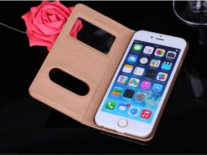 Premium Leather Case With Windows for iPhone 6s Plus/6 Plus - Baby Pink