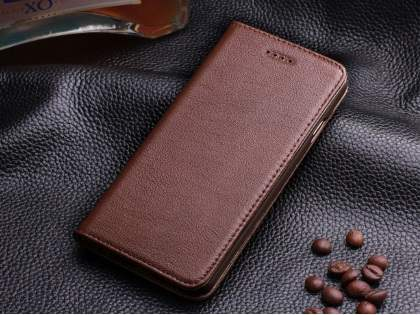 Book-Style Premium Leather Flip Case for iPhone 6s Plus/6 Plus - Brown Leather Wallet Case