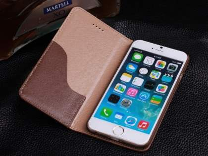 Book-Style Premium Leather Flip Case for iPhone 6s Plus/6 Plus - Brown