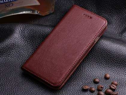 Book-Style Premium Leather Flip Case for iPhone 6s Plus/6 Plus - Rosewood Leather Wallet Case