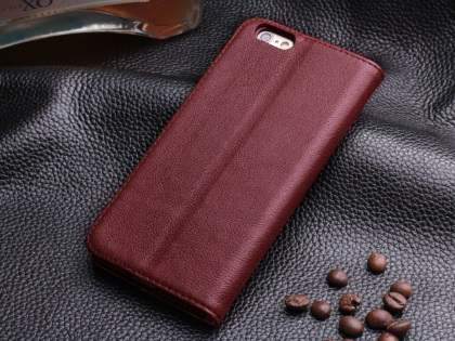 Book-Style Premium Leather Flip Case for iPhone 6s Plus/6 Plus - Rosewood
