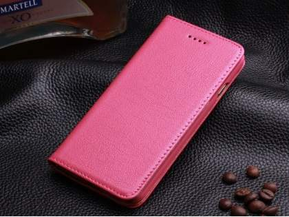 Book-Style Premium Leather Flip Case for iPhone 6s Plus/6 Plus - Pink Leather Wallet Case