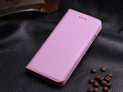 Book-Style Premium Leather Flip Case for iPhone 6s Plus/6 Plus - Baby Pink Leather Wallet Case