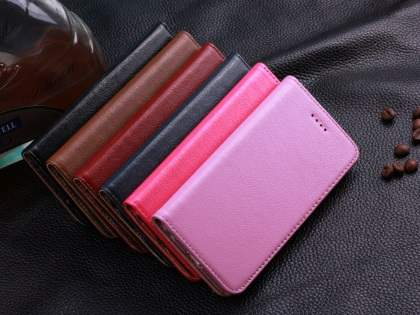 Book-Style Premium Leather Flip Case for iPhone 6s Plus/6 Plus - Baby Pink