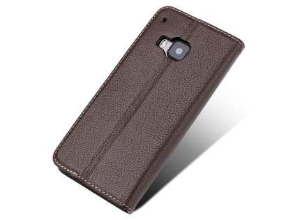 Premium Leather Wallet Case for HTC One M9 - Brown Leather Wallet Case