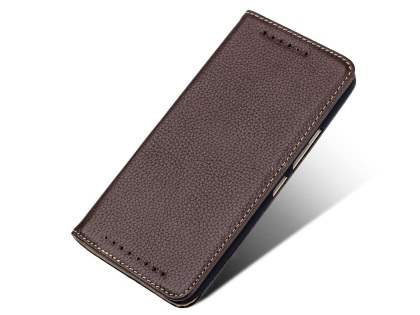 Premium Leather Wallet Case for HTC One M9 - Brown