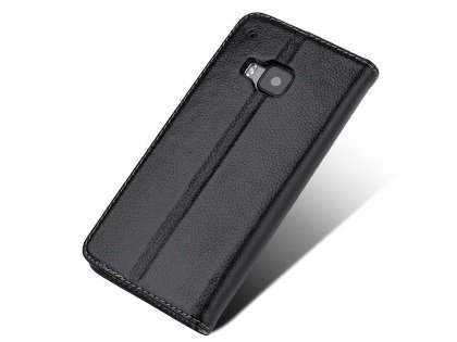 Premium Leather Wallet Case for HTC One M9 - Classic Black Leather Wallet Case for HTC