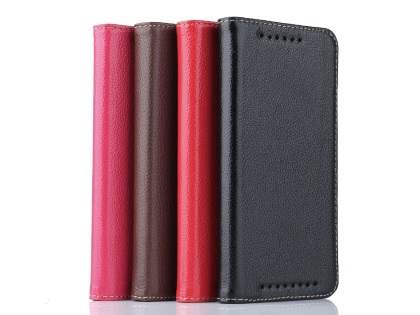 Premium Leather Wallet Case for HTC One M9 - Classic Black