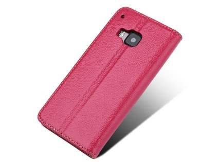 Premium Leather Wallet Case for HTC One M9 - Pink Leather Wallet Case