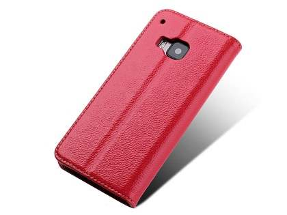 Premium Leather Wallet Case for HTC One M9 - Red Leather Wallet Case