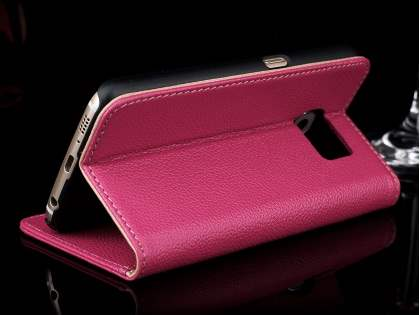 Premium Leather Wallet Case for Samsung Galaxy S6 - Pink