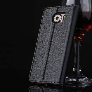 Premium Leather Wallet Case for Samsung Galaxy S6 - Classic Black