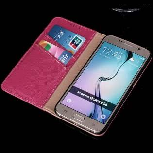Premium Leather Wallet Case for Samsung Galaxy S6 - Red