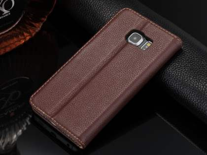 Premium Leather Wallet Case for Samsung Galaxy S6 Edge - Brown