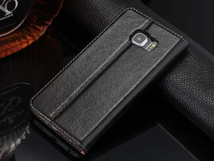 Premium Leather Wallet Case for Samsung Galaxy S6 Edge - Classic Black