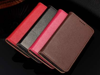 Premium Leather Wallet Case for Samsung Galaxy S6 Edge - Red