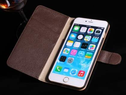 Premium Leather Wallet Case for iPhone 6s Plus/6 Plus - Classic Black