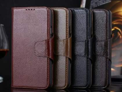 Top Grain Leather Wallet Case With Stand for Samsung Galaxy S5 - Rosewood