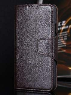 Top Grain Leather Wallet Case With Stand for Samsung Galaxy S5 - Dark Brown Leather Wallet Case
