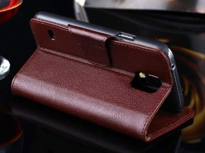 Top Grain Leather Wallet Case With Stand for Samsung Galaxy S5 - Dark Brown