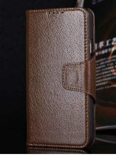 Top Grain Leather Wallet Case With Stand for Samsung Galaxy S5 - Dark Khaki Leather Wallet Case