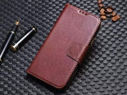 Top Grain Leather Wallet Case With Stand for Samsung Galaxy S4 - Rosewood Leather Wallet Case
