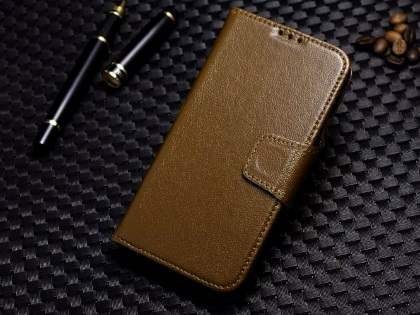 Top Grain Leather Wallet Case With Stand for Samsung Galaxy S4 - Dark Khaki Leather Wallet Case