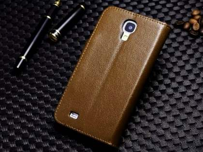 Top Grain Leather Wallet Case With Stand for Samsung Galaxy S4 - Dark Khaki
