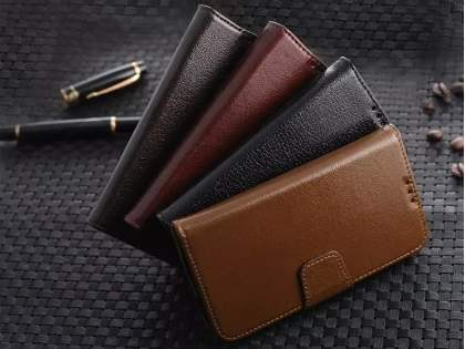 Top Grain Leather Wallet Case With Stand for Samsung Galaxy S4 - Classic Black
