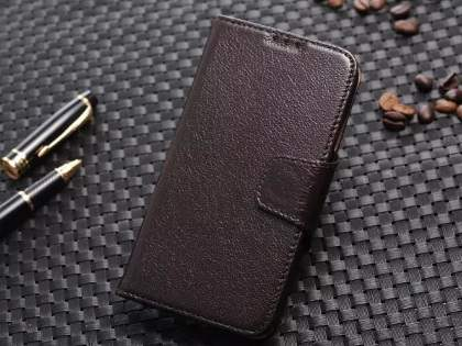 Top Grain Leather Wallet Case With Stand for Samsung Galaxy S4 - Dark Brown