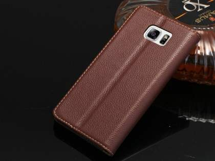 Premium Leather Wallet Case for Samsung Galaxy Note 5 - Brown Leather Wallet Case