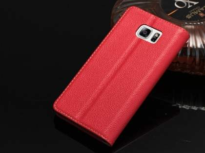 Premium Leather Wallet Case for Samsung Galaxy Note 5 - Red Leather Wallet Case