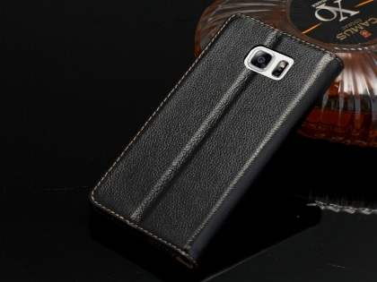 Premium Leather Wallet Case for Samsung Galaxy Note 5 - Classic Black