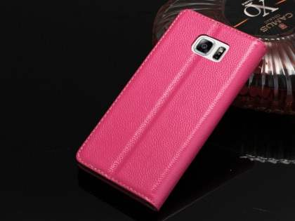 Premium Leather Wallet Case for Samsung Galaxy Note 5 - Pink Leather Wallet Case