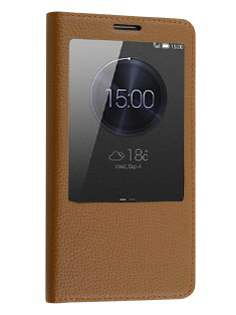 Premium Leather Smart View Case With Stand for Huawei Ascend Mate7 - Brown S View Cover