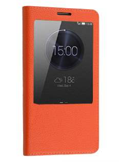 Premium Leather Smart View Case With Stand for Huawei Ascend Mate7 - Orange