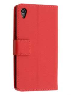 Slim Synthetic Leather Wallet Case with Stand for Sony Xperia Z5 - Red Leather Wallet Case