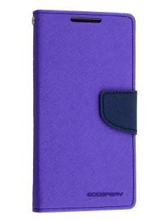 Mercury Colour Fancy Diary Case with Stand for Sony Xperia Z5 - Purple/Navy