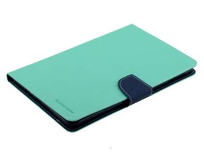 Mercury Colour Fancy Diary Case with Stand for iPad mini 4 - Mint/Navy Leather Flip Case