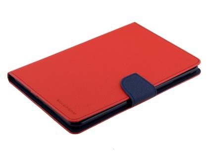 Mercury Goospery Colour Fancy Diary Case with Stand for iPad mini 4 - Red/Navy Leather Flip Case