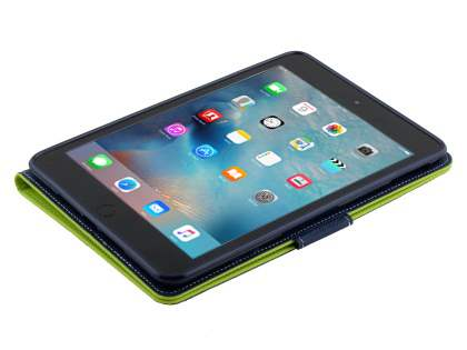 Mercury Goospery Colour Fancy Diary Case with Stand for iPad mini 4 - Lime/Navy