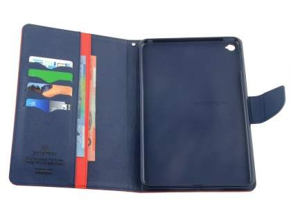 Mercury Colour Fancy Diary Case with Stand for iPad mini 4 - Red/Navy