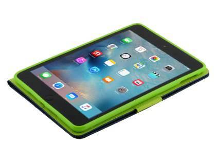 Mercury Goospery Colour Fancy Diary Case with Stand for iPad mini 4 - Navy/Lime