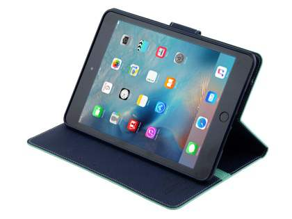 Mercury Colour Fancy Diary Case with Stand for iPad mini 4 - Mint/Navy