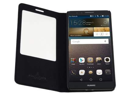 Premium Leather Smart View Case With Stand for Huawei Ascend Mate7 - Classic Black