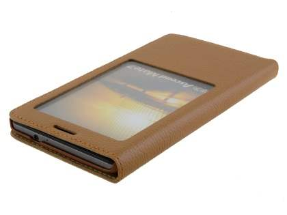 Premium Leather Smart View Case With Stand for Huawei Ascend Mate7 - Brown