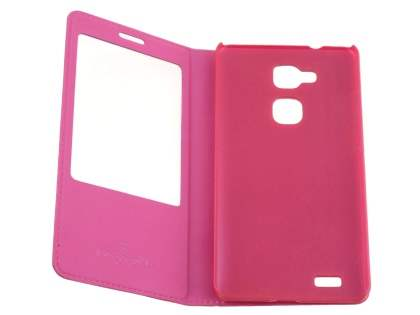 Premium Leather Smart View Case With Stand for Huawei Ascend Mate7 - Pink