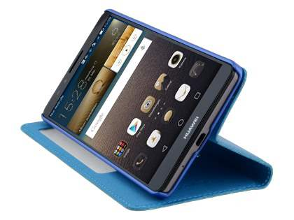 Premium Leather Smart View Case With Stand for Huawei Ascend Mate7 - Sky Blue
